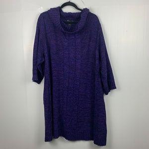 Lane Bryant Purple Cowl Neck Tunic Sweater